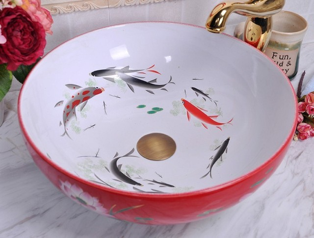 China Painting Fish Ceramic Painting Art Lavabo Bathroom Vessel Sinks Round  Counter Top Pottery Sink