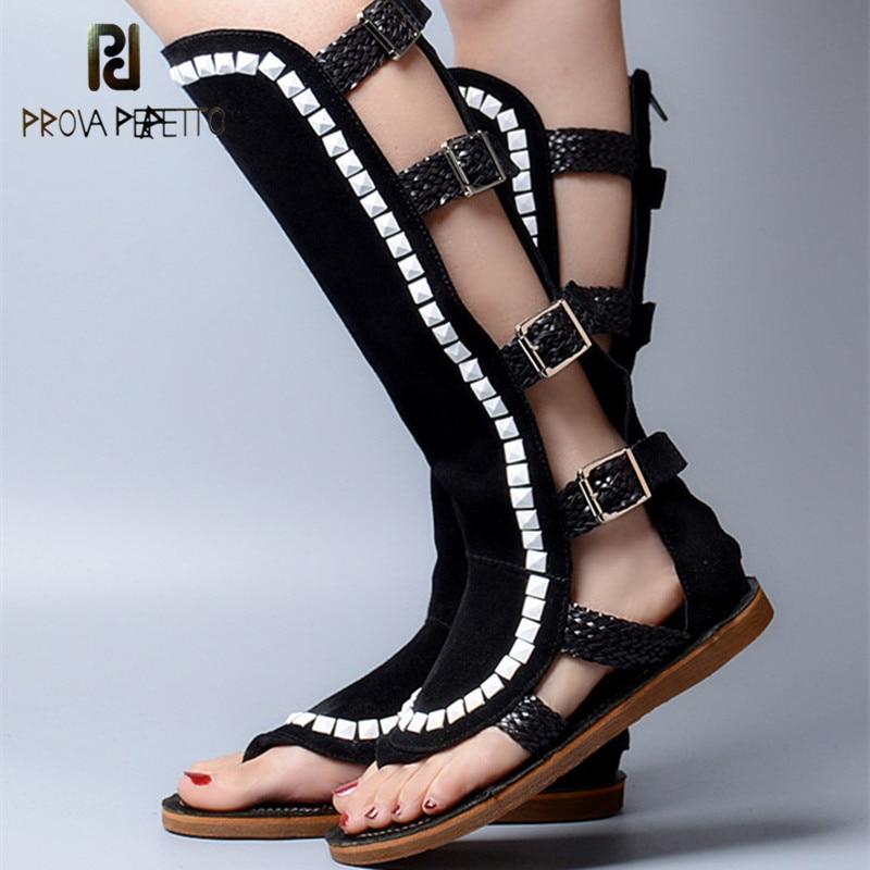 Prova Perfetto Gladiator Style Buckle Strap Square Rivets Flat Bottom Woman Sandals Open Toe Soft Sole