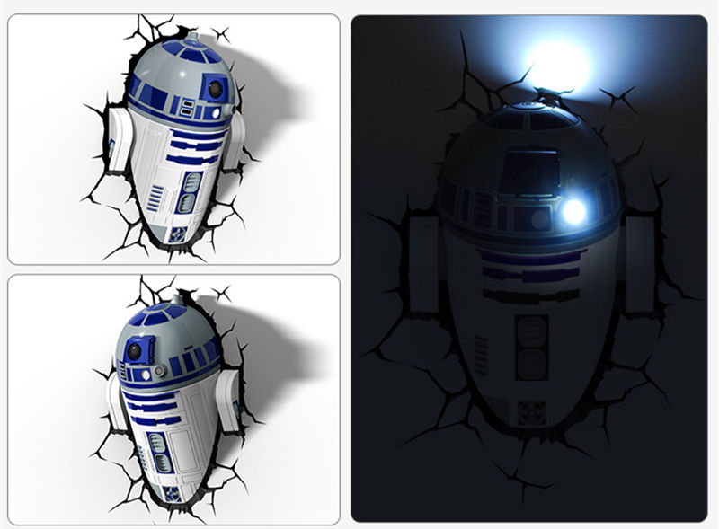 [Funny] Creative Star Wars R2-D2 Robot figures model 3D Wall Lamp Unique LED light lamp Ornament Home room decorations gift long swing arm retro vintage wall light fixtures edison rustic loft style industrial lamp wall sconce wandlampen lampara pared