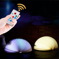 USB Rechargeable LED Folding Book Shape Desk Lamp Creative Colorful Nightlight Booklight With Remote Control for Home Decorative