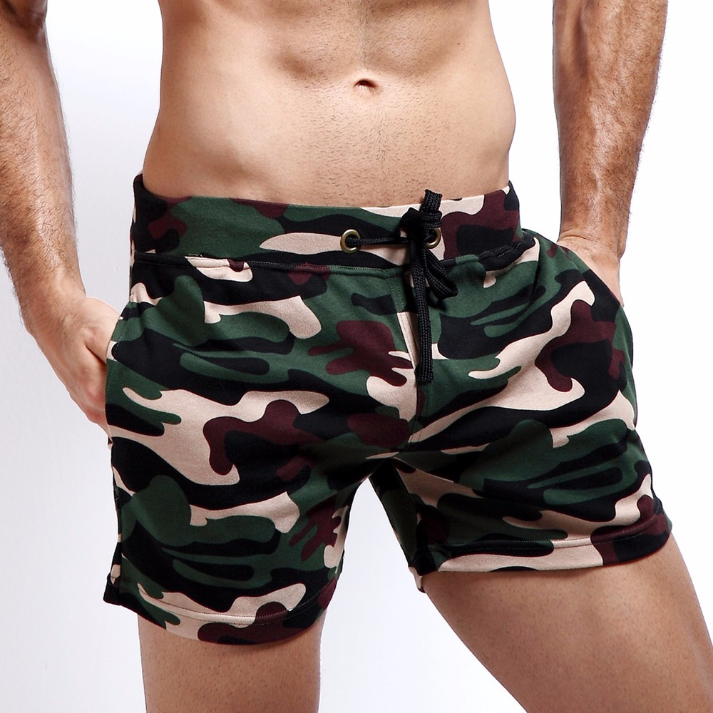New Fashion Cotton Men\'s Jogger Short Leisure Workout Short With Pocket Casual Camouflage Elastic Waist Home Lounge Shorts PF73 (2)
