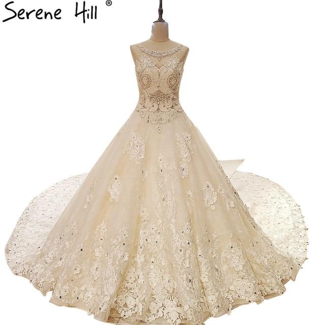 Extreme Luxury Vintage Sleeveless Tulle Wedding Dress White Diamond Flowers Large Train Bride Gown Vestido De