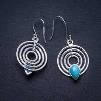 Natural Caribbean Larimar Handmade Unique 925 Sterling Silver Earrings 1.5 X3886