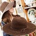 Новый летний соломенная шляпа Шляпа Солнца Пляжные Шляпы для женщин девушки женский лук цветок кентукки дерби шляпы