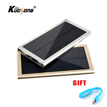 KuChong Universal Solar Power Bank 12000mAh Ultra-Thin Solar Charger External Battery Pack 2 USB for All Phone Fast Shipping
