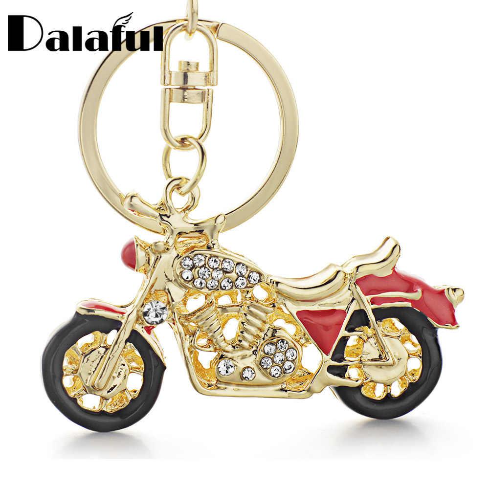 Dalaful incrível motocicleta chaveiros chaveiros esmalte cristal chaveiros titular anéis para carro melhor presente k311