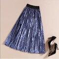 8 colores mujeres plisado falda de midi faldas vintage faldas largas de cintura alta faldas largas de terciopelo color sólido ocasional saia plissada