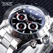Jaragar Sport Watches Red Hands Silver Stainless Steel Number Bezel Design Week Month Display Luminous Mens Automatic Watches