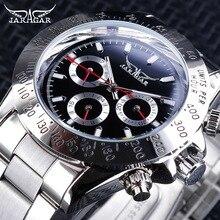 Jaragar relógio masculino, relógios esportivos vermelhos para homens, relógio de aço inoxidável com números prateados e automático para a semana
