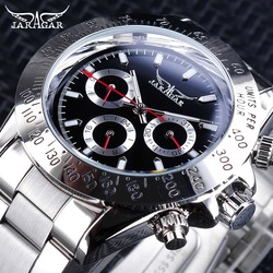 Jaragar sporta zegarki czerwony dłonie srebrny ze stali nierdzewnej liczba Bezel projekt tydzień miesiąc wyświetlacz świetliste męskie zegarki automatyczne w Zegarki mechaniczne od Zegarki na