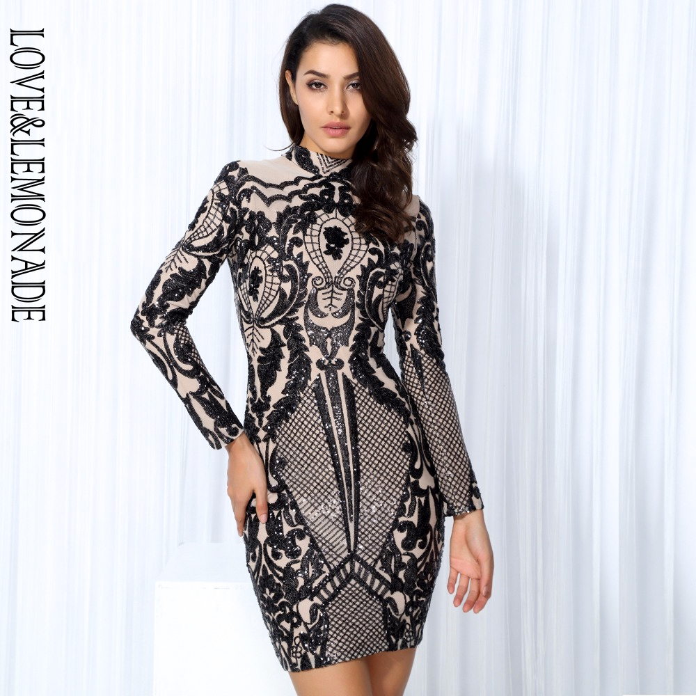 Love Lemonade Black Geometric Graphic Sequins Nude Lining Long Sleeves Dress Black Silver TB 10152
