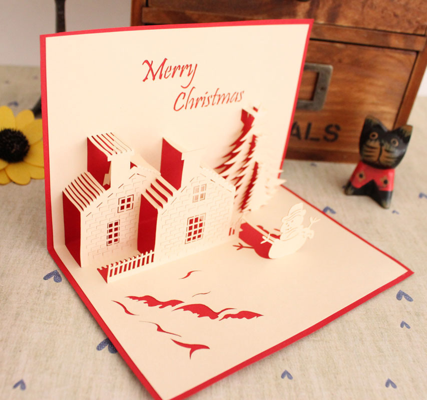 free shipping creative quality christmas handmade three dimensional diy paper art christmas new year greeting card gift card on aliexpresscom alibaba