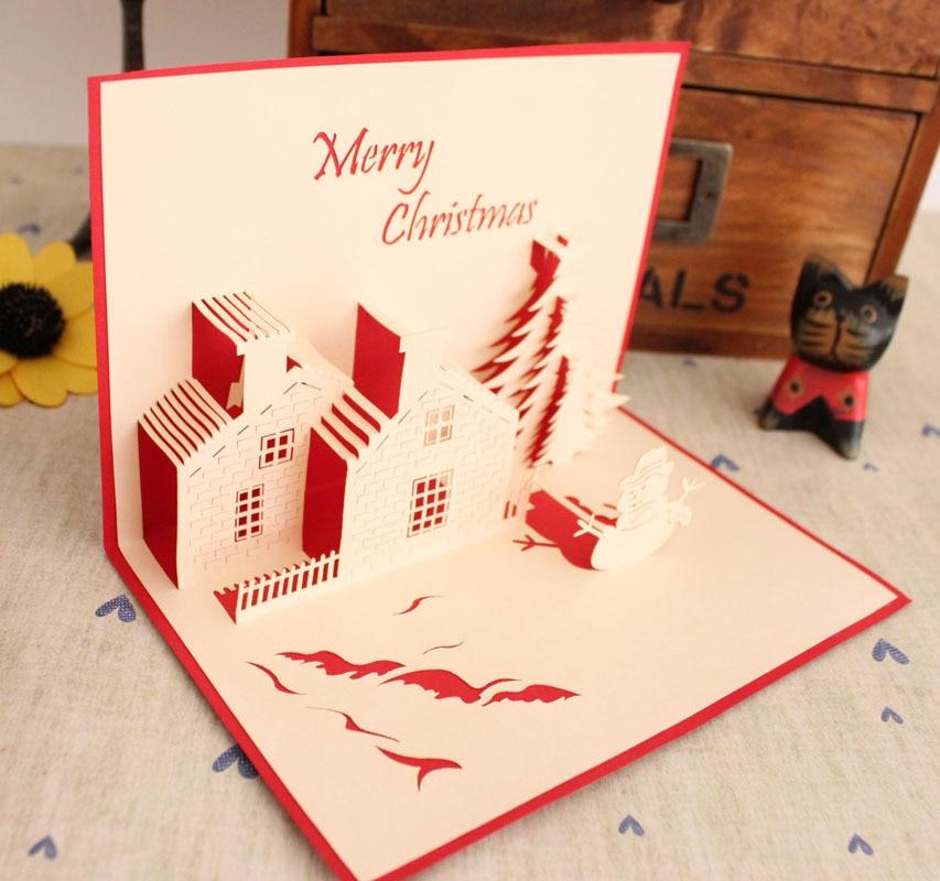 free shipping creative quality christmas handmade three dimensional diy paper art christmas new year greeting card gift card on aliexpresscom alibaba