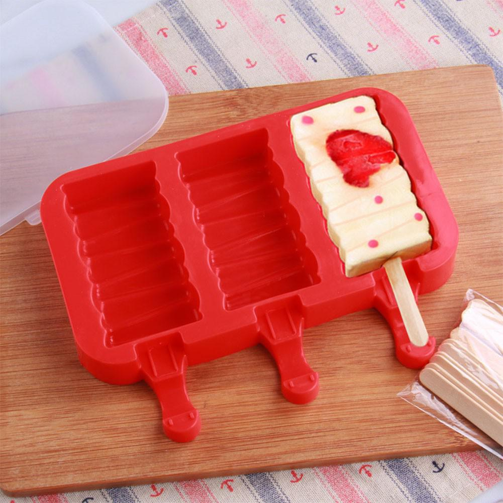 AsyPets Silicone Ice Cream Mold with Cover Ice Lolly Maker Holder Frozen Ice Mould with 20pcs Wood Sticks Kitchen Tools