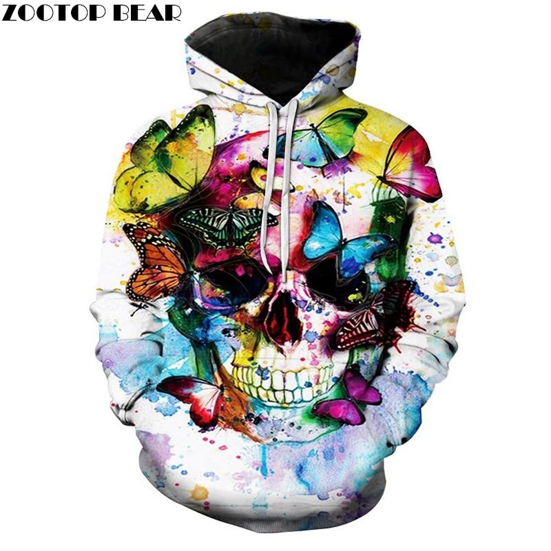Colorful Skull Hoodies Men Women Sweatshirts Fashion Casual Hoodie Funny Jackets Male Brand Tracksuits Hot Sale Drop Ship
