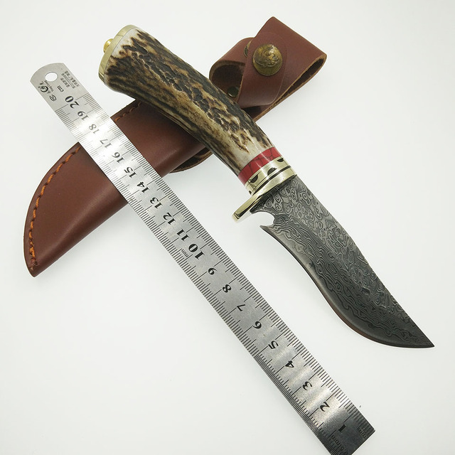 100% damascus steel knife blade hunting knife Antlers horn handle handmade damascus forged steel  Straight knife