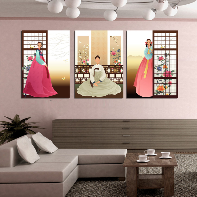 Modern Home Art Decor Abstract Cartoon Figure Paintings 3 Panel Korean Women Nation Dress Canvas Prints For Wall Decorations New