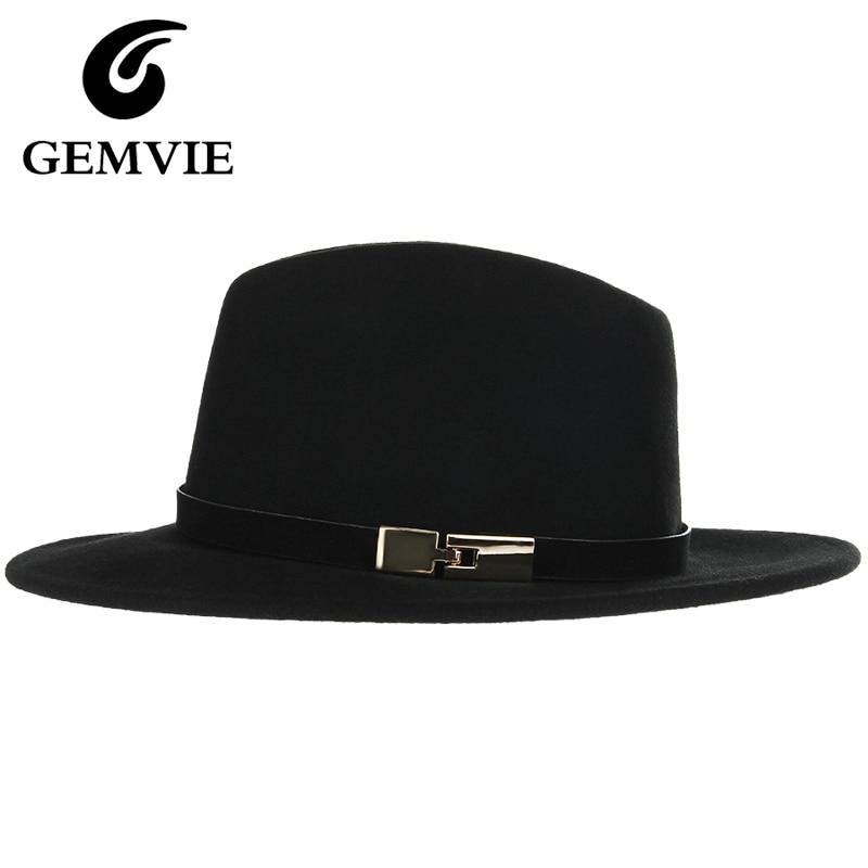 100% Pure Wool Solid Black <font><b>Fedoras</b></font> Hats Women and Men Wide Large Flat Brim Metal Decoration Vintage Cashmere Jazz Caps
