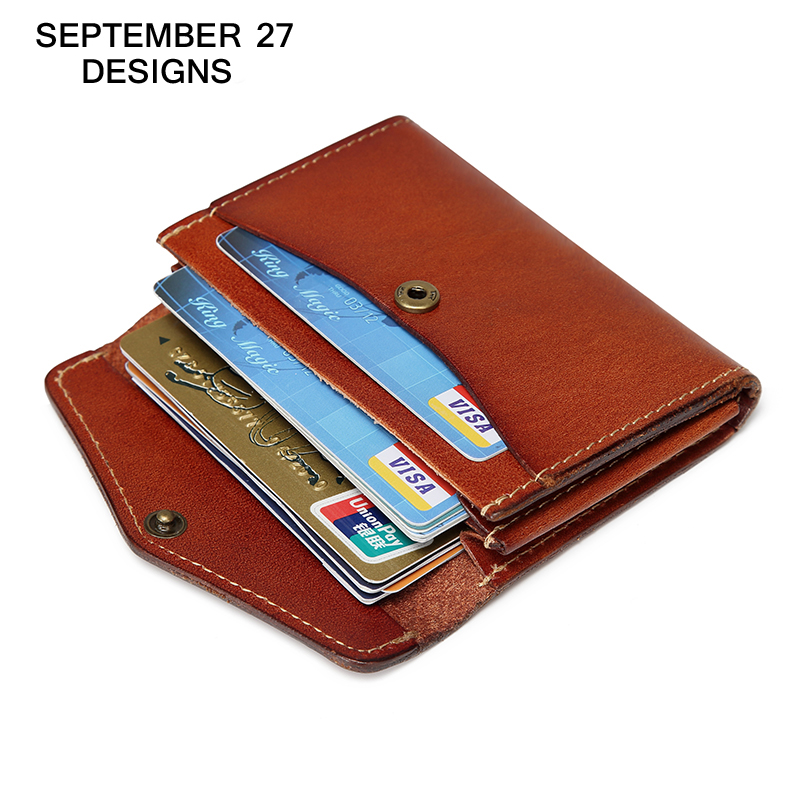 Coin Purses Genuine leather Credit/ID Card holder cowhide Retro Small Wallet luxury brand Mini Purse  Bus/Bank/Name Card case fashion solid pu leather credit card holder slim wallet men luxury brand design business card organizer id holder case no zipper