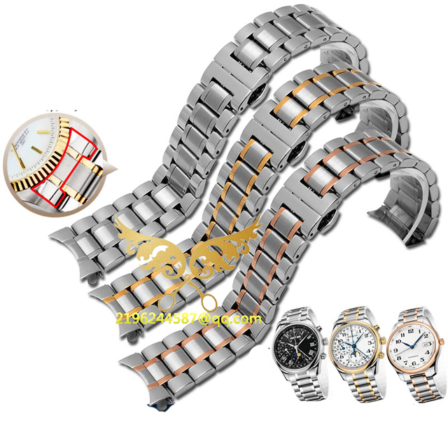 Free shipping Hot Sale Silver Watch straps 19mm 20mm 22mm Stainless Steel Watch for Band Strap Curved End For  Women Men Series