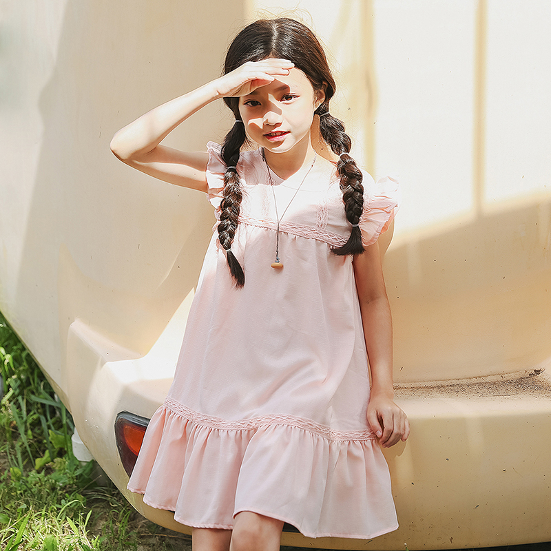 baby big girl dress kid petal sleeve knee length party dresses for girls clothes new 2018 white pink girls summer dress clothing