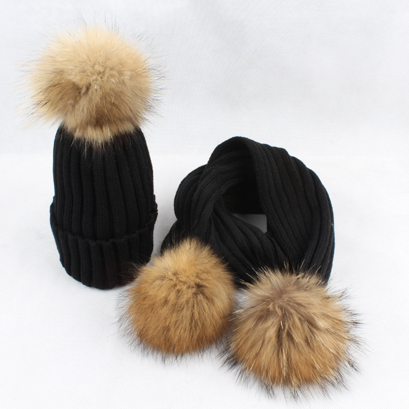 1d8c6a555 New Women Winter Hats And Scarf Sets Warm Cashmere Knitted Cap Scarf For  Girls High Quality Fur Pompoms Hats Lady Beanie Scarves-in Scarf, Hat &  Glove Sets ...
