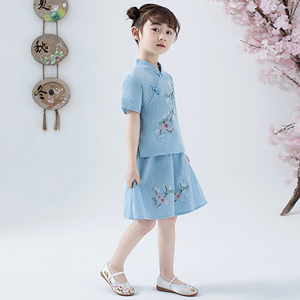 Image 4 - Lovely Girls Cheong sam 2PC Chinese Traditional Style Han Fu Baby Retro Dress Children Summer Casual Cotton Linen Dresses