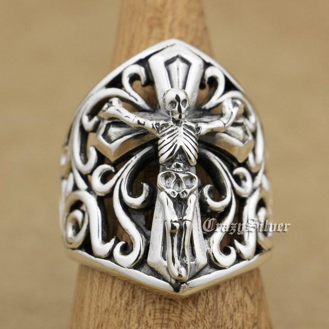 925 Sterling Silver Skull On Cross Mens Biker Rocker Punk Ring 9W006 US Size 8 to 15