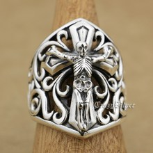 925 Sterling srebrna czaszka na krzyż mężczyzna Biker Rocker Punk pierścień 9W006 usa rozmiar 7 do 15