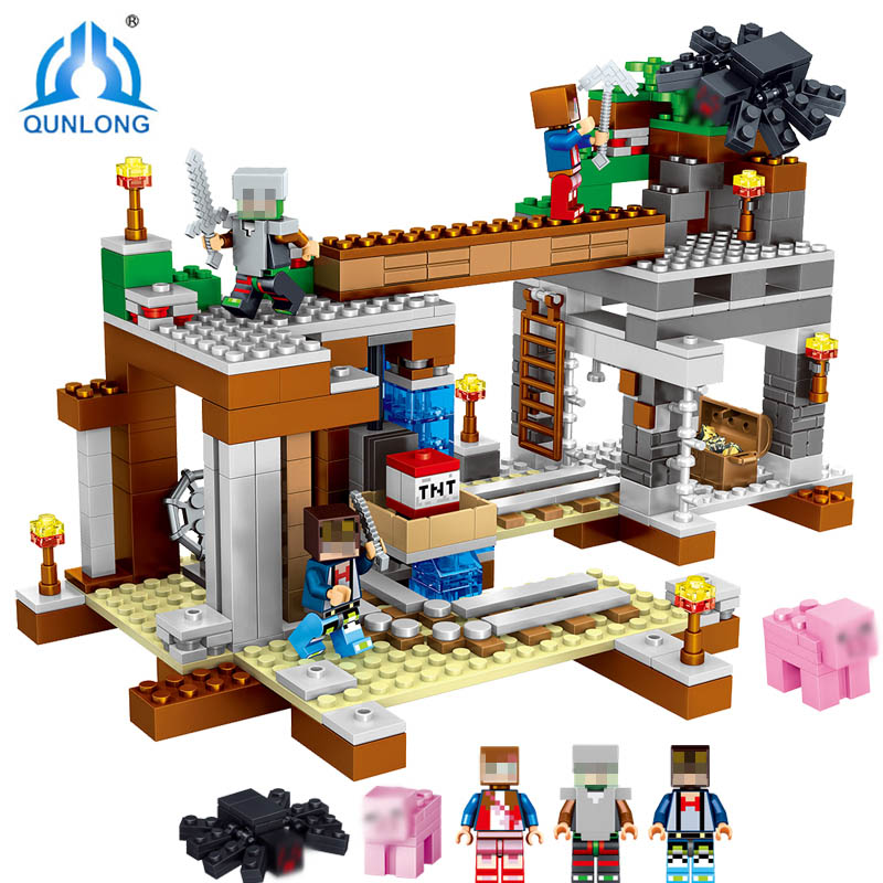 Qunlong 493pcs Mine Crafted Action Figures Compatible Legoings Building Block City Bricks Educational Toys For Kids Gift world mine diy building block set figures compatible legos minecraft city bricks educational toys for children
