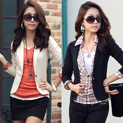 Top Outwear Coat Suit Jacket Short Blazer Slim Korean-Style Casual Women Blouse
