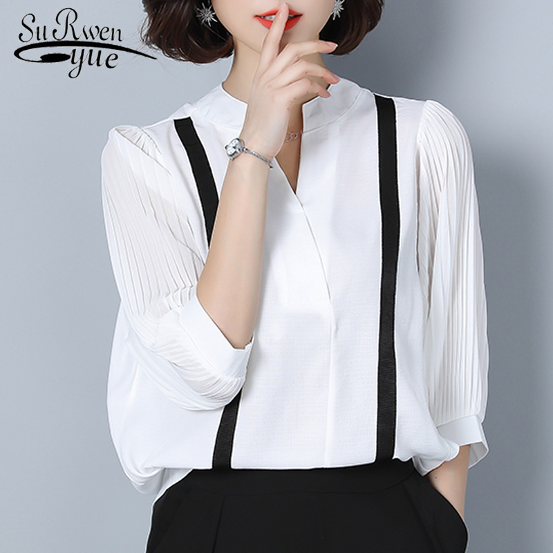 8b706144b873 2018 fashion white OL blouse plus size chiffon blouse shirt lantern sleeve  V collar chiffon women