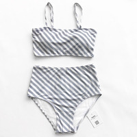 Cupshe Blank Memory Stripe Bikini Set Women High-waisted Summer Sexy Swimsuit Ladies Beach Bathing Suit swimwear
