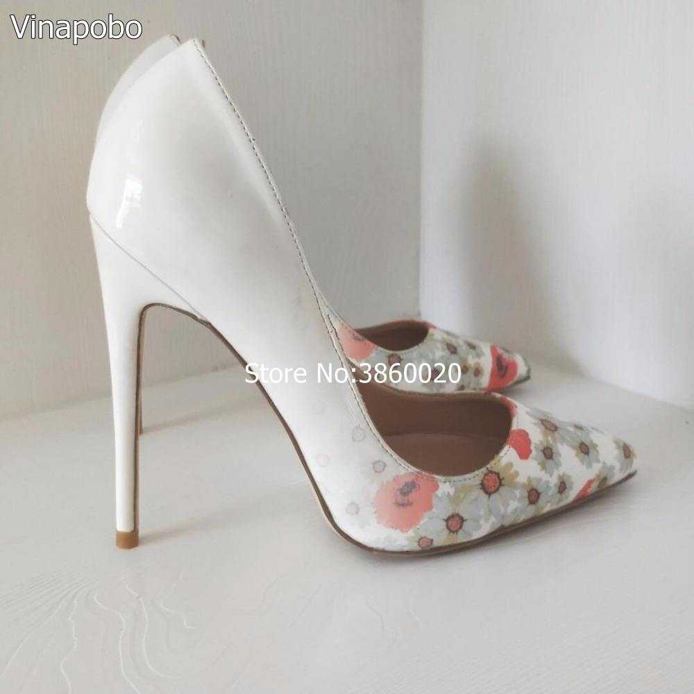 Sexy pumps white Colorful Flower printed women high heels slip on pointed toe female dress shoes