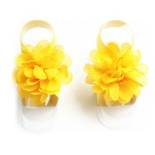 New Princess Cute Chiffon Flower Foot Baby Barefoot Sandals 15 Colors Toddler Flower Shoes Headband Baby Girls Accessories(China)