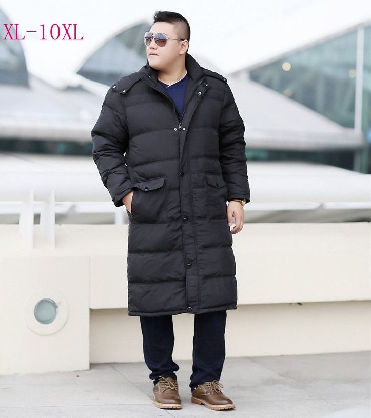 Large plus big size clothing for men maxi long loose winter   down     coat   male parkas black army green 4xl 5xl 6xl 7xl 8xl 9xl 10xl