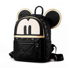 New Women Backpack PU Leather Cartoon Mickey Backpack Fashion Rivet bags Japan and Korean style Classy Back Bag