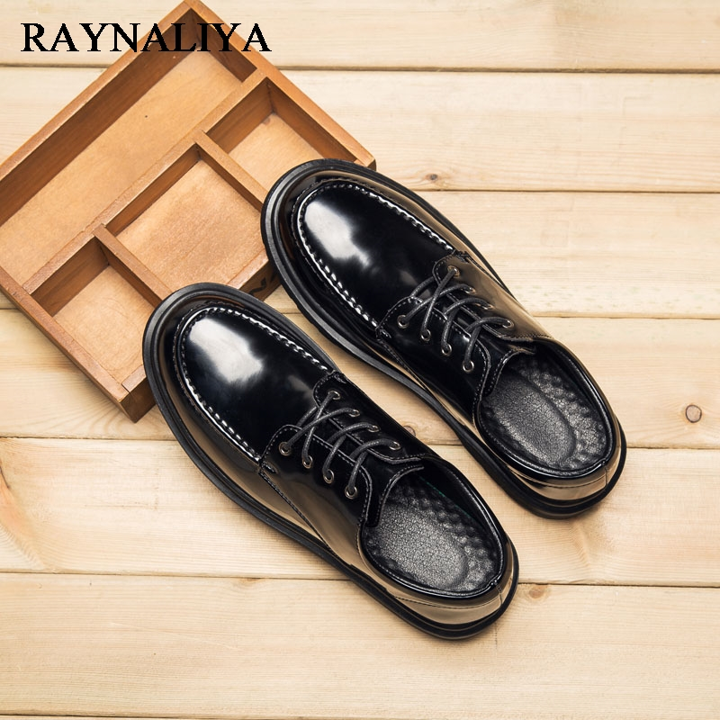 Spring Summer New Mens Fashion Patent Leather Design Casual Shoes Men Leisure Shoes Black Party Lace Up Shoes Man LJG-A0021 2016 spring summer new old leather lace round japanese casual shoes retro fashion leather shoes