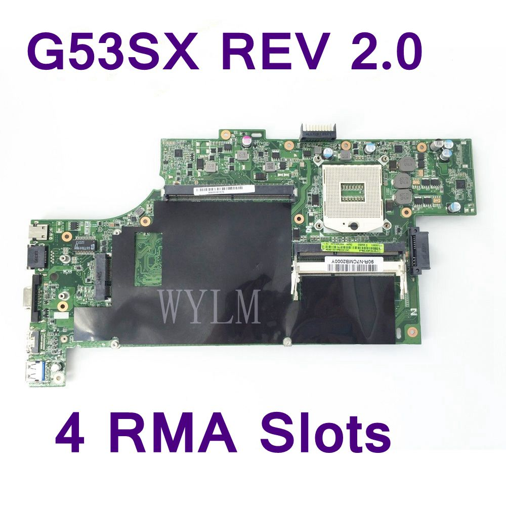 G53SX With 4 RAM Slots DDR3 Mainboard For ASUS G53SX G53SW VX7 Fit For NVIDIA GTX460M 560M Laptop Motherboard Test Free Shipping