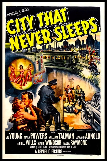 City That Never Sleeps Classic Movie Film Noir Retro Vintage Poster Canvas Painting DIY Wall Paper Home Decor Gift image