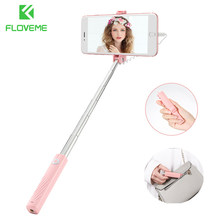 FLOVEME Super Mini Wired Selfie Vara para iPhone 7 8 Plus X XS Max XR Pau De Palo Selfie Extensível vara Monopé para iPhone(China)