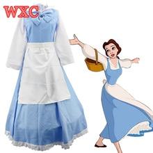 Anime de la bella y la bestia belle princesa traje adulto azul maid cosplay dress disfraces fantasia de halloween cosplay mujeres wxc