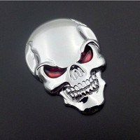 Hot Sale Auto Car Motorcycle Skull Bone Sticker Chrome Silver 3D Metal Emblem Badge Car Decal Sticker with 3M Tape Back 50x35MM