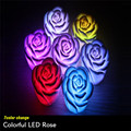 Mini Creative Rose LED Night Light 7 Colors Changing Auto Flameless Romantic LED Party Light For Bedroom Home Bars Christmas