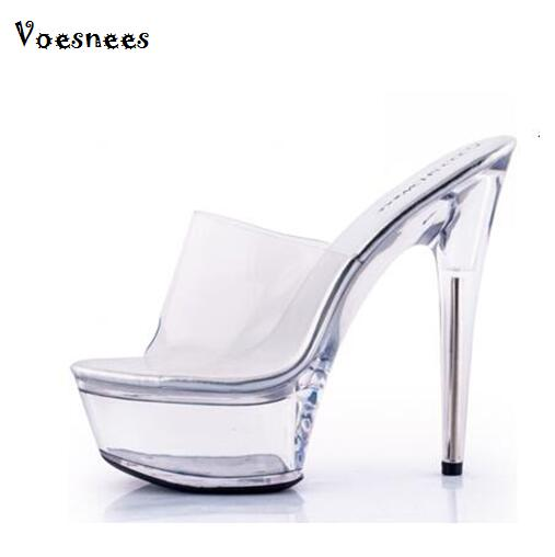 The Best Platform Women Shoes 2017 Transparent Ultra High Heels 15 Cm Waterproof Flowers Sandals Sexy Big Yards Dance Shoes Office & School Supplies