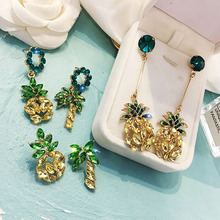 KMVEXO 2019 New Korean Pineapple Fruit Crystal Drop Earrings for Women Summer Girl Long Rhinestone Earring Party Wedding Jewelry