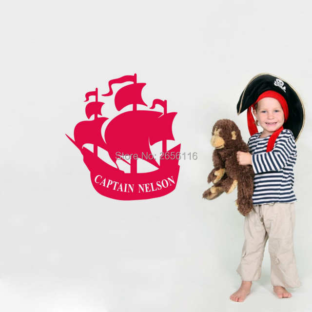 02c1aecc8525e Personalized Boys Name Wall Sticker Pirate Ship Wall Decals Funny Wallpaper  for Kids Room
