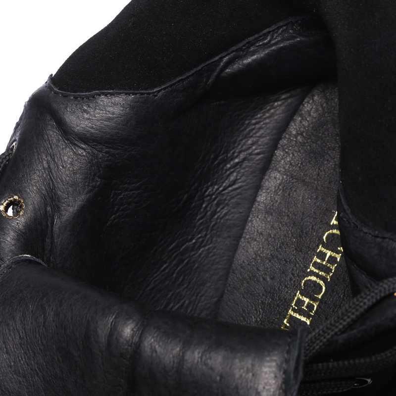 PRICHICELLA Gümüş zincir dantel up kama yarım çizmeler hakiki deri kışlık botlar kadınlar için