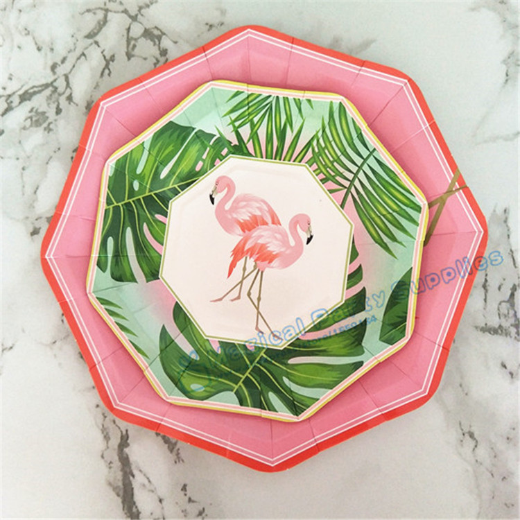 80pcs Island Oasis Flamingo Dessert Plates Small 7inch Large 9inch Paper Plates Luau Tropical Hawaiian Party Supplies Tableware