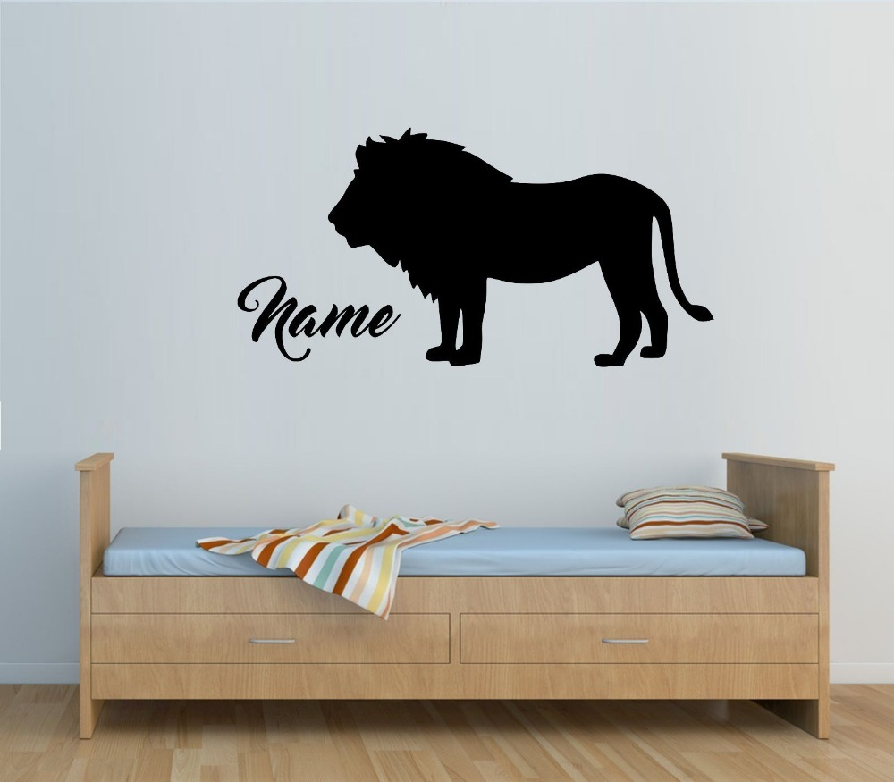 Personalised lion any name vinyl wall sticker wall decal kids personalised lion any name vinyl wall sticker wall decal kids bedroom removable wall stickers for boys room jw167 in underwear from mother kids on amipublicfo Images